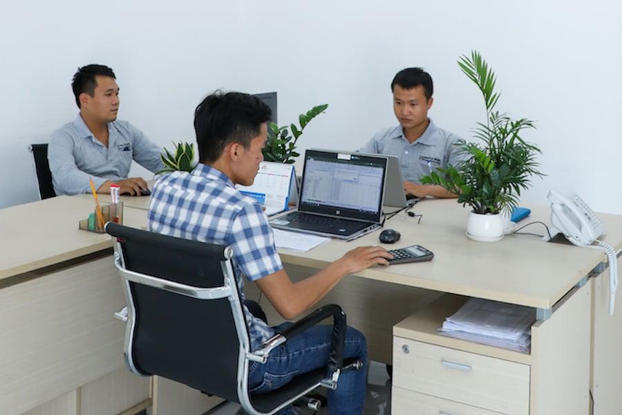 Tech Department at Fiberglass Planters Factory