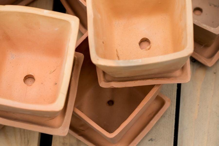 Background image, drainage hole, clay pot
