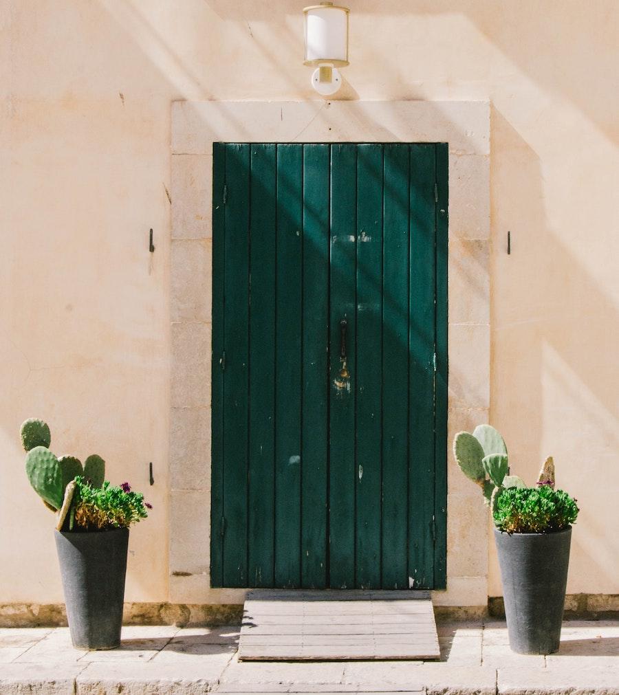 Planters in front of house door