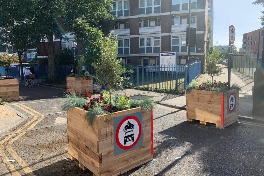 Planters create social distancing boundaries