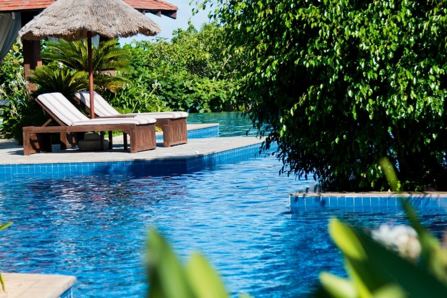 Resort swimming pool in a luxury hotel
