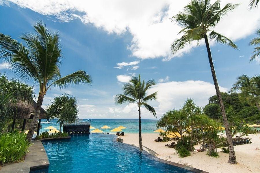 Swimming pool in luxury resort, Boracay, Philippines