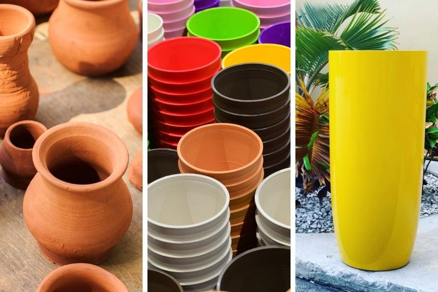Clay pots vs plastic pots and fiberglass pots